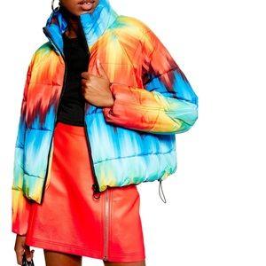 Topshop Rainbow Puffer Jacket